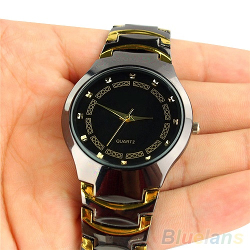 Picture of Luxury Men's Business Casual Stainless Steel Link Chain Wristwatch Quartz Round Dial Cool Bracelet Watch