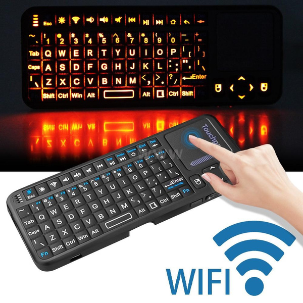 Picture of Multifunctional Mini 2.4g Rf Wireless Handheld Keyboard Mouse Touchpad Led Pointer Backlight Size 6in 2.4in 0.5in Color Black