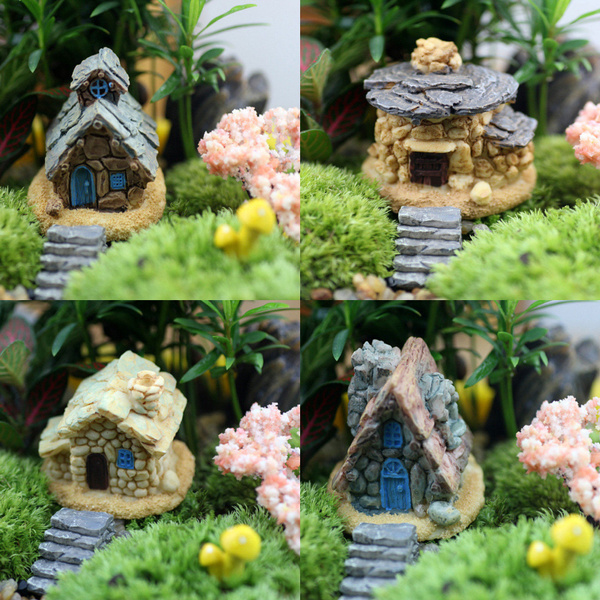 1Pc 4 Styles Random Send Cute Stone House Fairy Garden Miniature Craft  Micro Landscape Table Decoration for DIY
