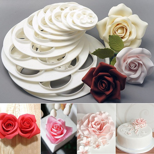 Picture of 6pcs Fashion Cute Baking Mold Fondant Cake Sugarcraft Rose Flower Cookie Mould Gum Paste Cutter Tool Size One Size Color White