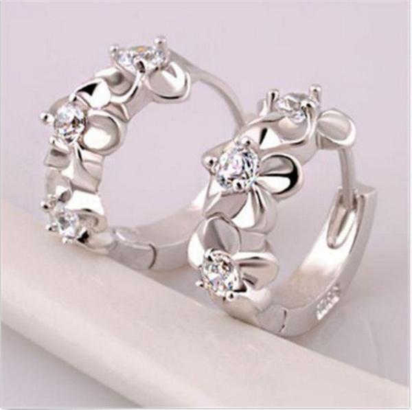 Picture of White Topaz Gemstones 925 Sterling Silver Hoop Earrings