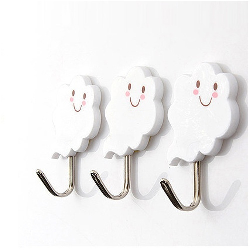 Picture of 3 Pcs/set 2kg Cute Plastic Hook White Cloud Wall Door Hangers For Clothes Hats Bag