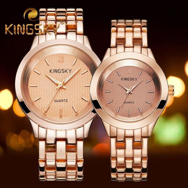 8f7a06173313 Pareja de oro rosa Amante de la aleacion de cuarzo reloj pulsera de cadena  del reloj de San Valentin del reloj Regalo