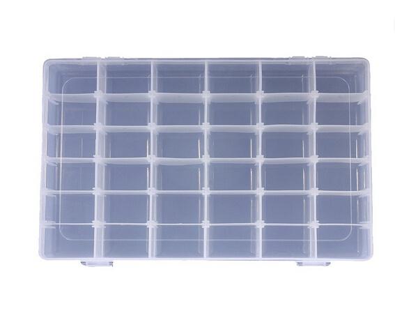 Wish 36 Grid Clear Adjustable Jewelry Bead Organizer Box Storage