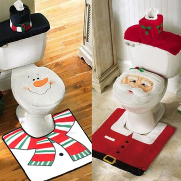 Surprising Fashion Toilet Seat Cover Christmas Decorations Santa Snowman Toilet Seat Cover Bathroom Rug Set Gifts Home Decor Xmas Decor 1 Santa Claus Red Pabps2019 Chair Design Images Pabps2019Com