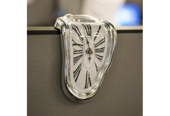Unique Design Melting/Time Warp Clock - Sits on Shelf to Create Illusion of a Timepiece Melting Down(battery not inclued)