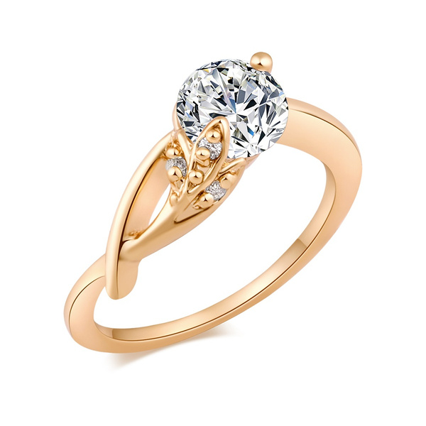 Picture of Size 7/8/9 Elegant High Quality Cz Stone Ring Gold Plated Flower Shape Zircon Rings Jewelry For Women
