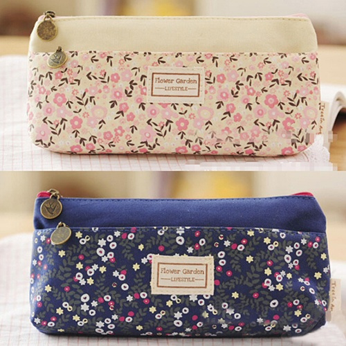 Picture of Floral And Dot Pattern Canvas Pencil Pen Case Cosmetic Makeup Coin Pouch Zipper Bag Purse
