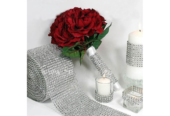 Superior Silver Wedding Bridal Bouquet Wrap Ribbon 1 Roll Sparkle Diamond Mesh Wrap (Color: Silver)