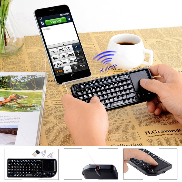 Rii Mini Wireless Bluetooth Keyboard Fly Air Mouse for iPad 2 3 4 Android  PC and Mac