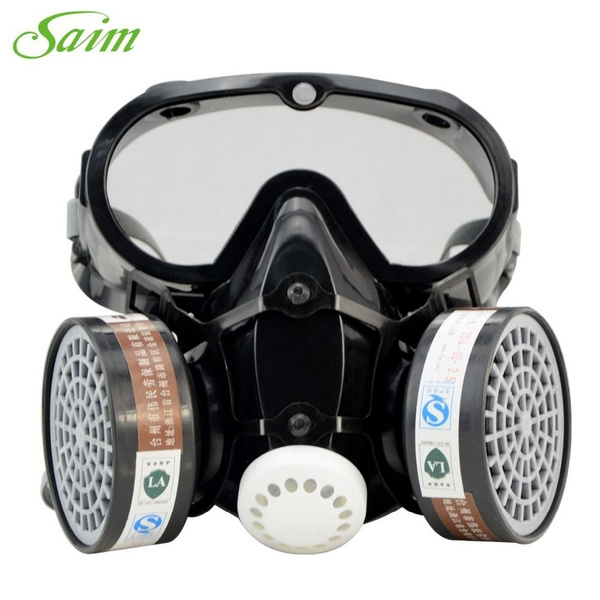 1pcs Respirator Gas Mask Safety Chemical Anti-Dust Filter Military Eye  Goggle Black glass