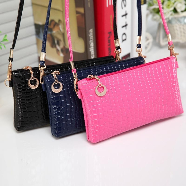 Picture of New Women Crocodile Leather Messenger Crossbody Clutch Shoulder Handbag