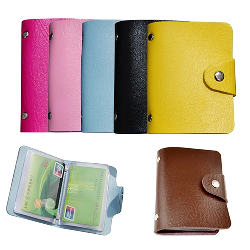 Picture of Leather Bags Pocket Business Id Credit Card Organizer Wallet Holder Case For 24 Cards