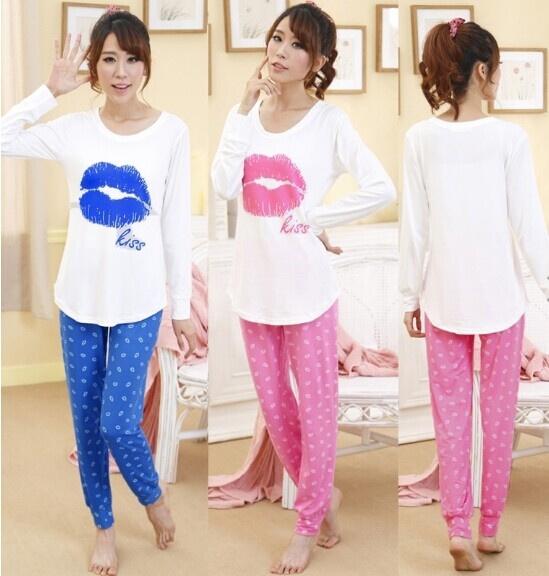 45f22f49d3 Womens Spring Fall Lip Print Cotton Pyjamas Ladies Winter Pjs ...