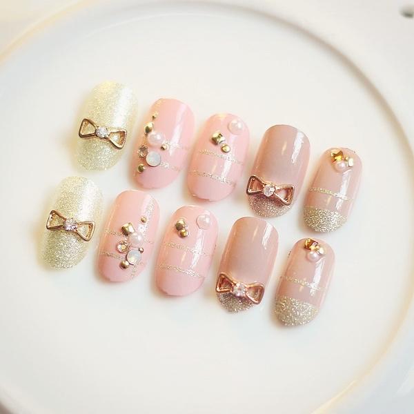 Wish | Japanese Cute metal bowknot 22pcs/Set false nails kit with ...