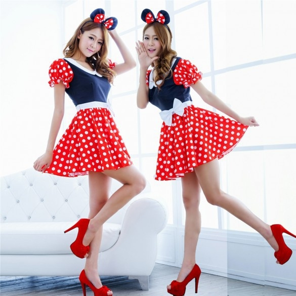 8d90eaaaf6a3a Sexy Lingerie Adult Women Milk Maid Minnie Mouse Mickey Costume Cosplay  Halloween Fashion Outfit Fancy Dress & Ears