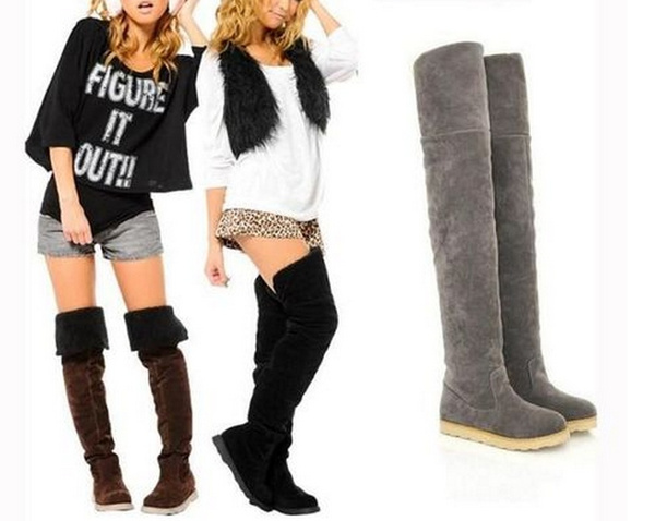 Picture of Women Sexy Flat Heel Over Knee Boots Martin Winter Warm Boots