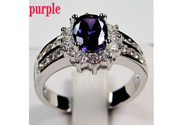 925 Sterling Silver Amethyst Lady's Wedding Rings Size 6-9