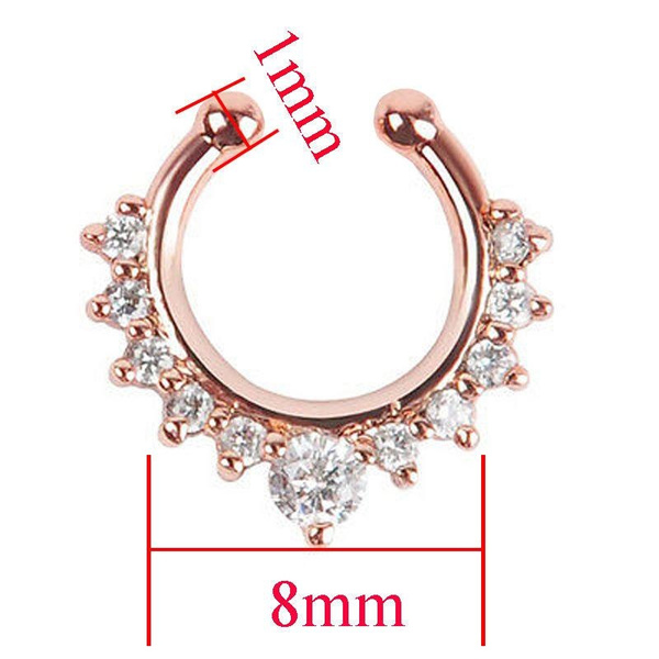 1Pc Fashion Fake Septum Clicker Nose Ring Non Piercing Hanger Clip On Jewelry