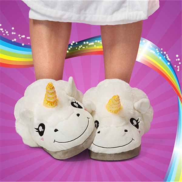 dea362e2a 1pair Cute Plush Unicorn Slippers for Winter Warm Indoor Slippers ...