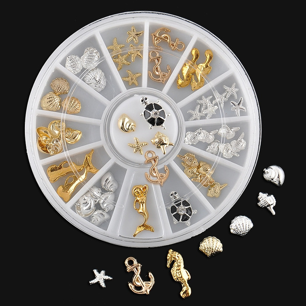 3D Ocean Alloy Jewelry Glitter Rhinestones Stickers DIY Nail Art Decal + Wheel
