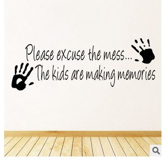 Picture of Please Excuse The Mess Quote Fashion Wall Sticker Waterproof Removable Pvs Vinyl Art Decor Home Decor