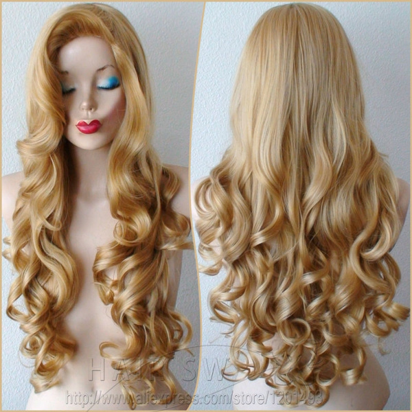 Golden Blonde Long Curly Hairstyle Big Swept Bangs Jessica Rabbit Hairstyle Wig Durable Quality Wig For Cosplay