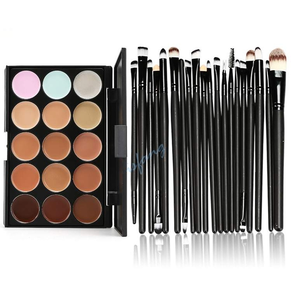 Picture of 15 Colors Cosmetic Concealer Palette + 20pcs Brushes Makeup Brush Set Kit Isfang
