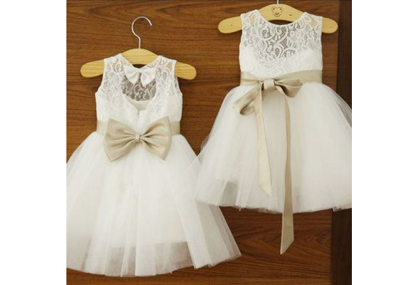 Girls Baby Princess Wedding Party Bowknots Tulle Dress Lace White Dresses