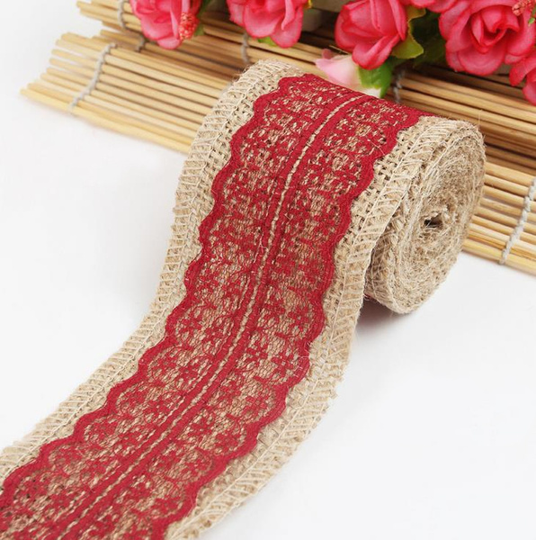 New Arrival 2M Vintage Natural Jute Burlap Hessian Ribbon Lace Trim Table Wedding Decor