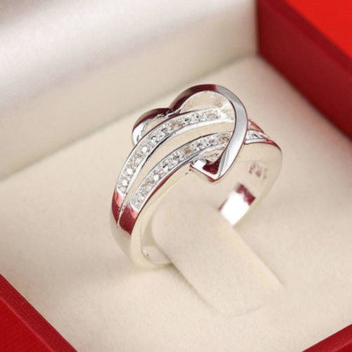 Picture of Newest 925 Silver Bling Gemstone Heart Love Women Wedding Ring