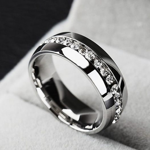 Picture of 18k Gold Plated Diamond Ring High Quality Stainless Steel For Men And Women Fashion Couple Ring Gold/ Silver