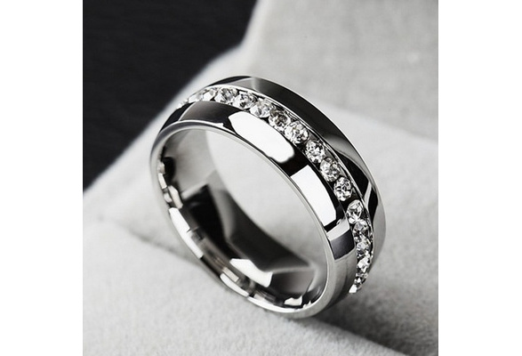 18K White Gold Plated Diamond Ring High Quality Stainless Steel for Men and Women Fashion Couple Lover Rings Gold/ Silver