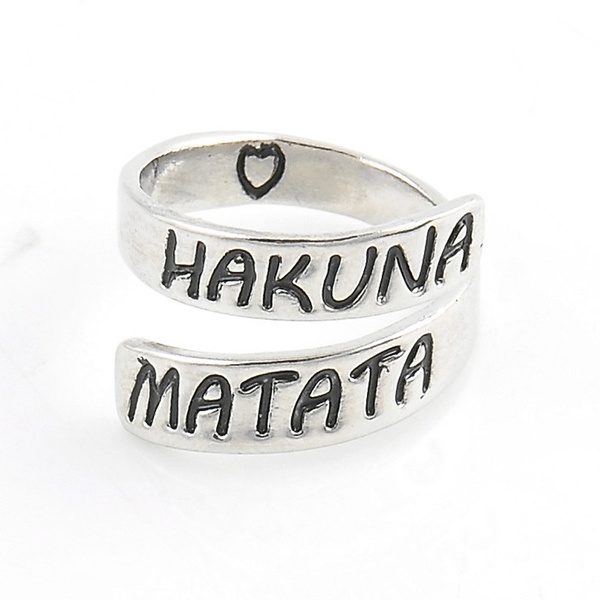 Picture of 1pc Fashion Women Punk Letter Hakuan Matata Alloy Simple Open Finger Ring