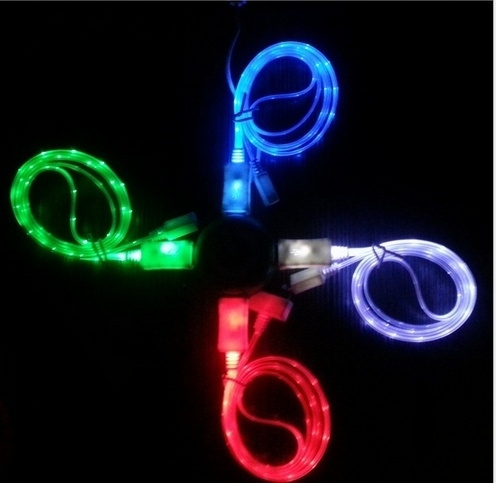 wish christmas light up charging cable luminescent visible smart charger sync cable for apple iphone 5 5s 5c iphone 6 6 plus ios78 s4 s3 htc m8 samsung