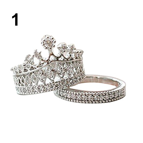 Sweety girls fashion Accessories Party Jewelry Crown Rings Crystal Silver Gold Luxury Ring set
