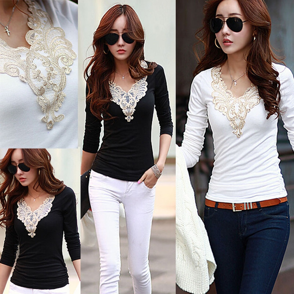 Picture of Women Patchwork Long Sleeve Embroidery Slim Bottoming Shirt Large Size T Shirt Blouse Tops