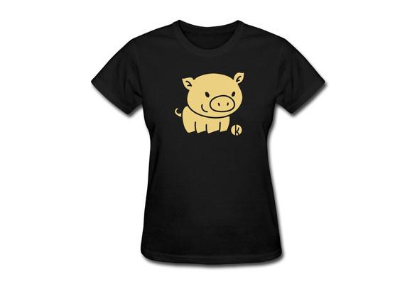Short Sleeve T Shirt Women's Pork Creat Own Regular Style Women T Shirts