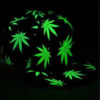 Funny Light In The Dark Night Luminous Glow Snapback Baseball Hip-Hop Cap Hat maple leaf