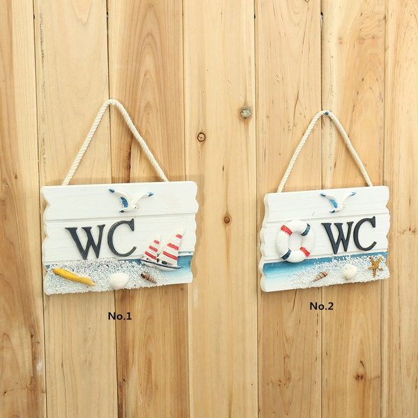 Wish | Fashion Wooden Door Sign Nautical Decor Wc Toilet Signs Wall ...