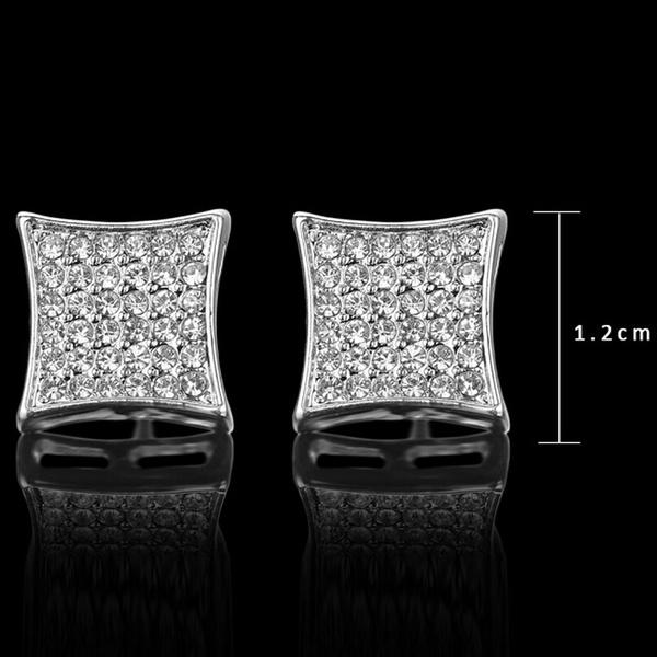 Wish Hip Hop Por Bling Stud Earring Brand Geometric Platinum Plated Men Dress Earrings 13mm