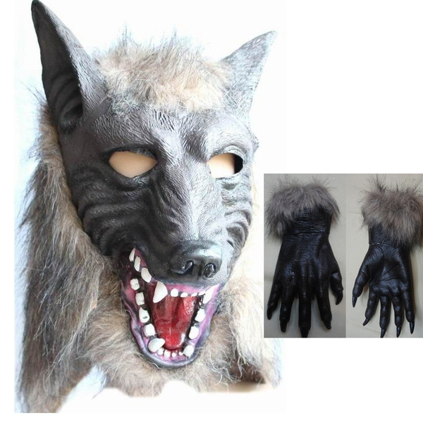 HALLOWEEN ADULT WEREWOLF  LATEX  HANDS  MASK PROP