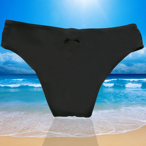 Women Brazilian Bikini Swimwear Thong Love Heart Cut Out Bottom Beachwear