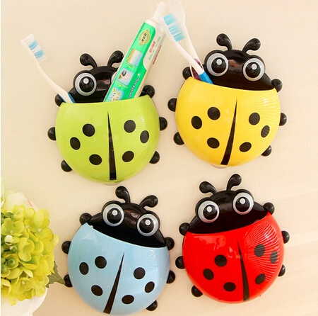 Picture of Cute Ladybird Beetle Toothbrush Toothpaste Toothpaste Holder Mix Colors Storage Holders Racks Bathroom Shelves Pencil/pen Holder