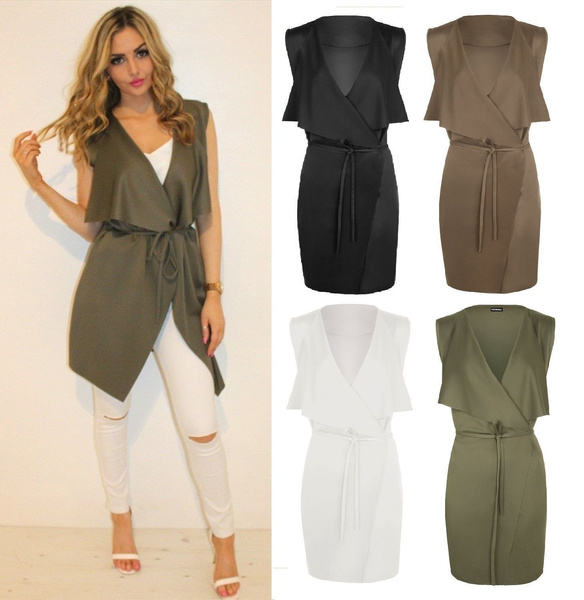 Picture of Women Sleeveless Cape Belted Waterfall Casual Solid Color Dress