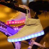 High-Top Men and Women Couples Shoes Colorful Flashing LED Luminous Shoes for Childrens Size 27-46