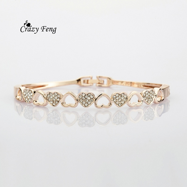 Picture of Women Yellow Gold Plated Heart Shape Crystal Bangle Trendy Jewelry Bracelets Bangles