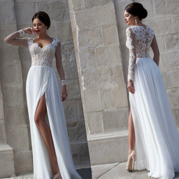 White Lace Long Sleeve Prom Dress
