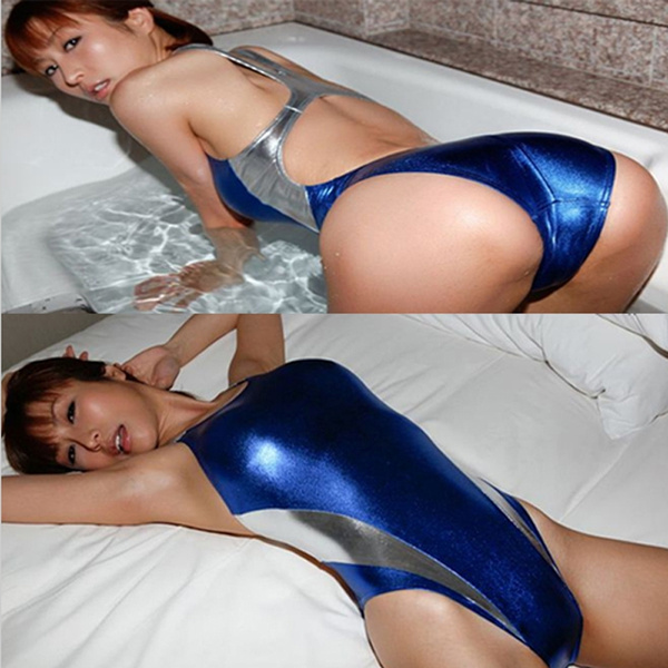 dc51eed103c Hot Selling Lady Sexy Silver Blue Shiny Patent Leather Lingerie Bodysuit  Wetlook Latex Bustier Stretch Club Wear Catsuit Swimwear ASAP Ship