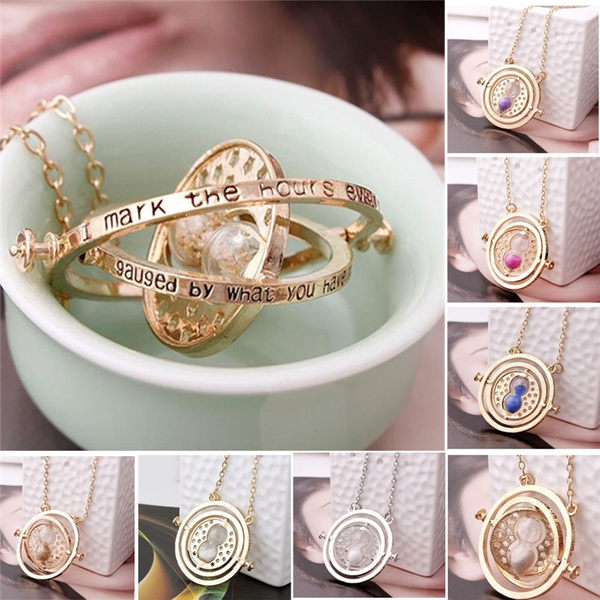 Picture of Fashion Time Turner Hermione Granger Rotating Spins Gold Hourglass Necklace